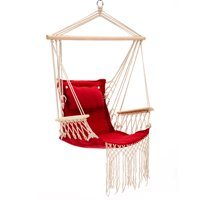 Best Patio Swing Seat Hammock Hanging Rope Chair Rose Red with Tassel