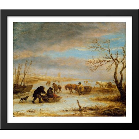 Frozen Ice Landscape with Carriages and Boats 32x28 Large Black Wood Framed Print Art by Isaac van Ostade - Love Boat Isaac