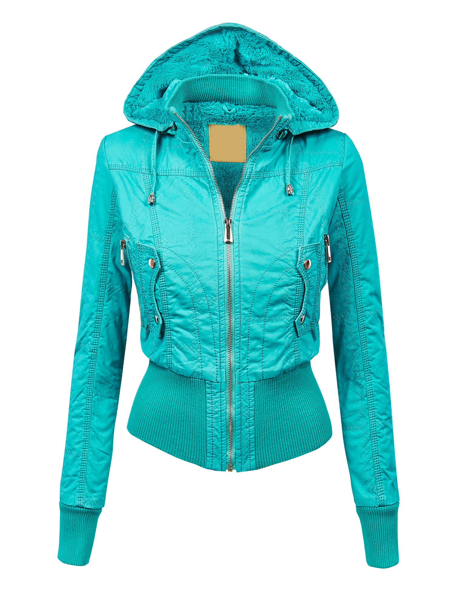 MBJ Womens Casual Inner Fleece Bomber Jacket with Removable Hoodie