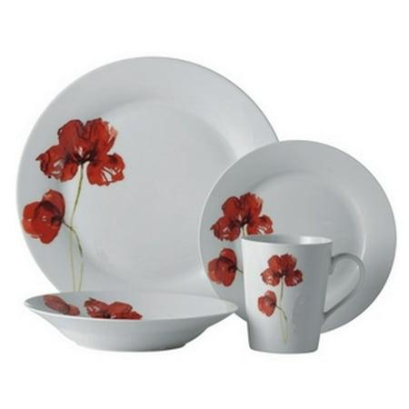 Safdie & Co. 16-Piece Round Rim Dinnerware Set, Ruby, Poppi (Dinnerware Narrow Rim)