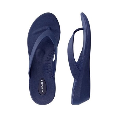 5b5177c2358 Okabashi Womens Lakeside Thong Flip Flop Sandals (Navy M L) from ...
