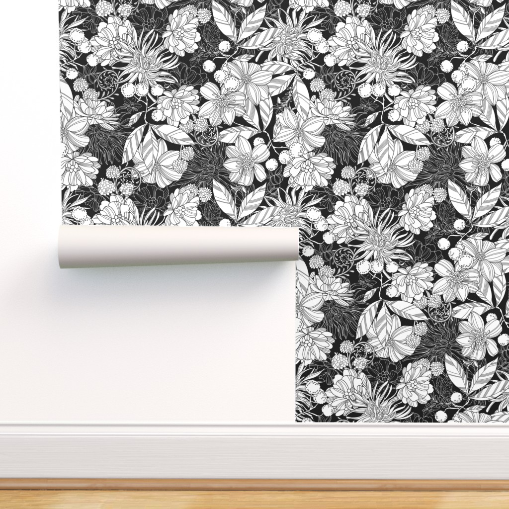 Removable Water Activated Wallpaper Floral Botanical Black White