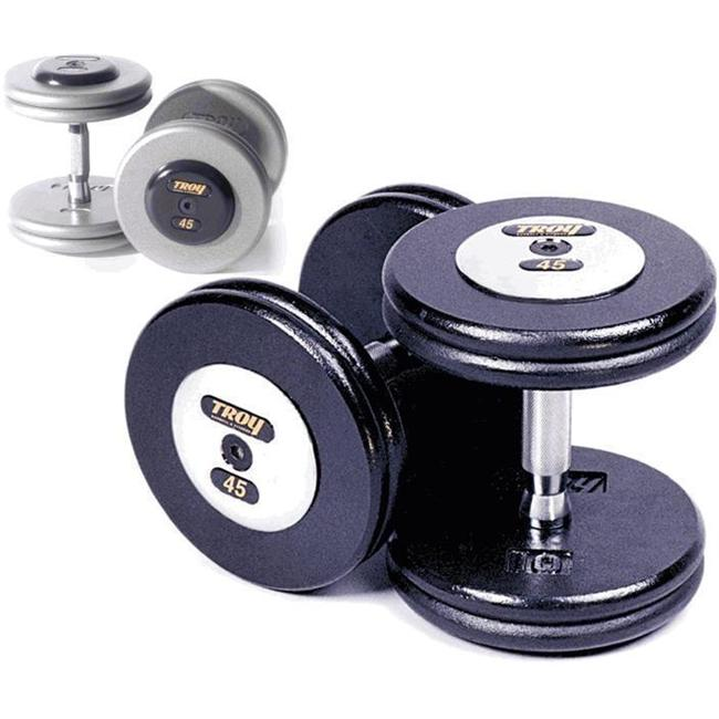 Troy Barbell HFDC-150C Pro-Style Dumbbells - Gray Plates And Chrome End Caps - 150 Pounds - Sold as Pairs