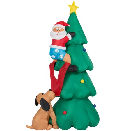 Best Choice Products 6ft Pre-Lit Indoor Outdoor Inflatable Climbing Santa Claus Christmas Holiday Seasonal Decoration w/ Christmas Tree, Family Dog, Lights, Ground Stakes - (Dog Christmas Decorations)