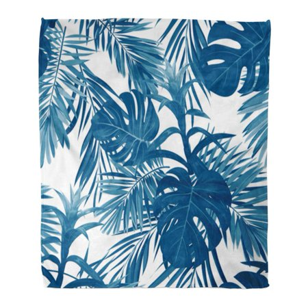POGLIP Flannel Throw Blanket Black Hawaii Floral Pattern Guzmania Flowers Monstera and Royal Soft for Bed Sofa and Couch 50x60 Inches - image 1 of 1