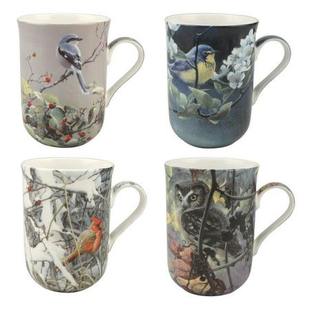 McIntosh Trading Bateman Birds Set of 4 Bone China Coffee Mugs