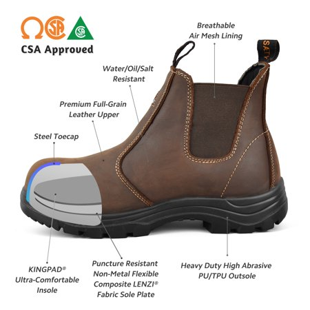 sports shoes fef8c 44c02 Tiger Men's Safety Boots Steel Toe CSA Lightweight Slip On Leather Work  Boots 5925