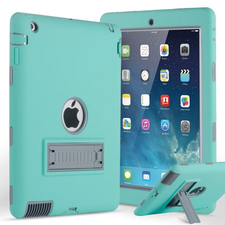 iPad 2 3 4 Case Cover, Allytech Three-Layer Durable Full Body Protective Kickstand Shock-Absorption Armor Defender Protective Rugged Case Cover for Apple iPad 2nd/ 3rd / 4th Generation, Green+Gray Apple 4th Generation Cover