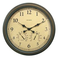 "24"" Copper Patina Indoor or Outdoor Wall Clock with Thermometer"