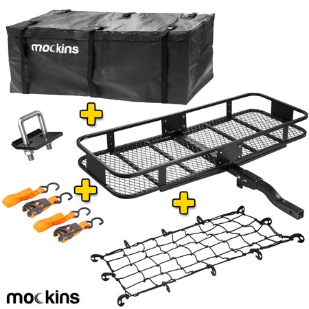 "mockins Hitch Mount Cargo Carrier with Cargo Bag and Net |The Steel Cargo Basket Is 60"" Long X 20 Wide X 6"" Tall With A Hauling Weight Of 500 Lbs. And A Folding Shank To Preserve Space When Not In Use Hitch Cargo Carrier"