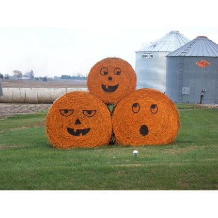 Canvas Print Halloween Bale Hay Farming Season Pumpkin Farm Stretched Canvas 10 x 14](Father Teds Farm Halloween)