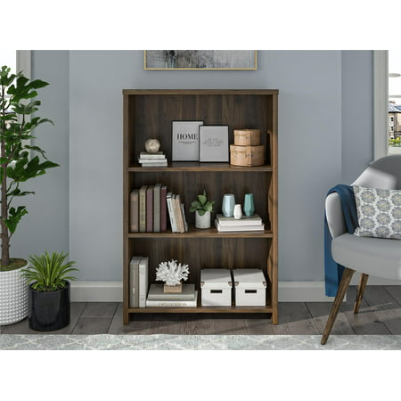 Mainstays Heritage 3 Shelf Bookcase, Walnut