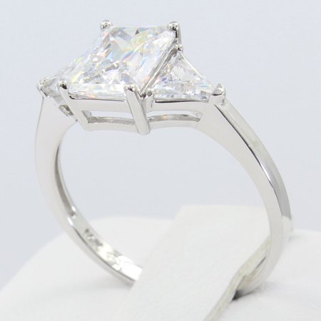8mm Trillion Prong Ring Setting - 2.00 Ct 14K Real White Gold 3 Three Stones Emerald Cut Center and Trillion Triangle Shape Side Stones 4 Prong Basket Setting Engagement Wedding Propose Promise Ring
