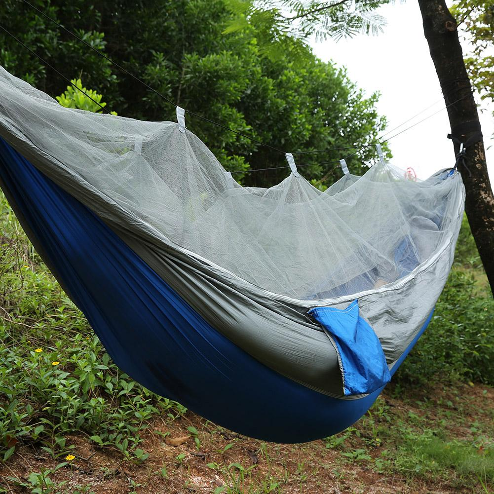 Double Person Travel Outdoor Camping Tent Portable Multicolor Parachute Cloth Hanging Hammock Folded Bed With Mosquito Net,Military Green