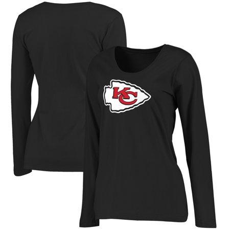 Kansas City Chiefs Women's Primary Logo Plus Size Long Sleeve T-Shirt - Black