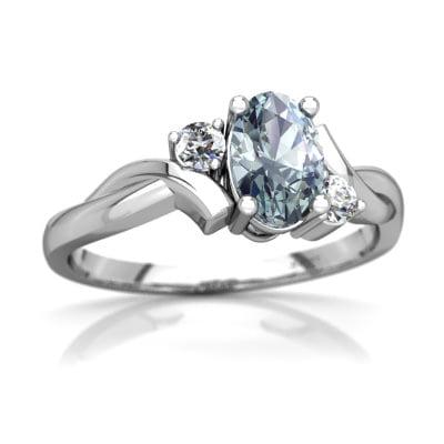 Aquamarine Swirls Ring in 14K White Gold by