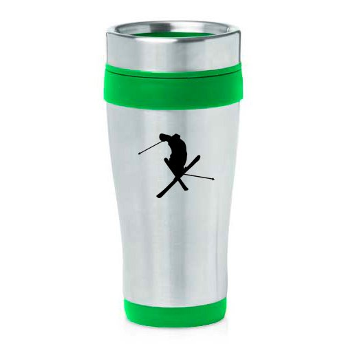 16oz Insulated Stainless Steel Travel Mug Ski Skier Extreme Sports Trick (Green ) by