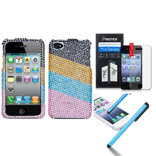 Insten Blue/Pink Stripes Diamond Case Bling Hard Cover For iPhone 4 4s LCD Film Pen