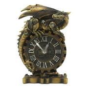 "Ebros Chronos Resting Steampunk Cyborg Dragon Table Clock Statue 8.25"" Tall Mythical Fantasy Painted Mechanical Clockwork Gears Of Destiny Dragon Collectible Desktop Clock"