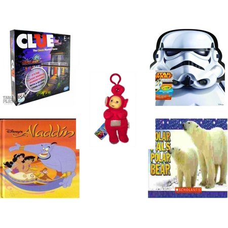 Children's Gift Bundle [5 Piece] -  Clue  - Crayola Storm Trooper Art Case  - Teletubbies  Red Po With Hang Clip 8