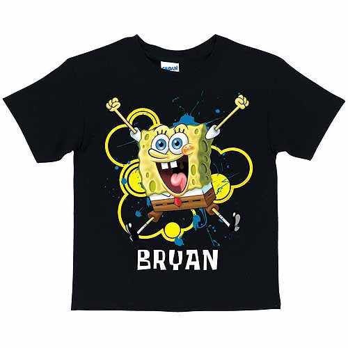 Personalized SpongeBob SquarePants Excited Toddler Boy Black T Shirt