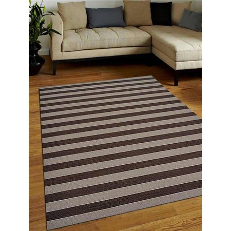8 x 10 ft. Contemporary Hand Woven Kelim Woolen Area Rug, Cream & Brown ()