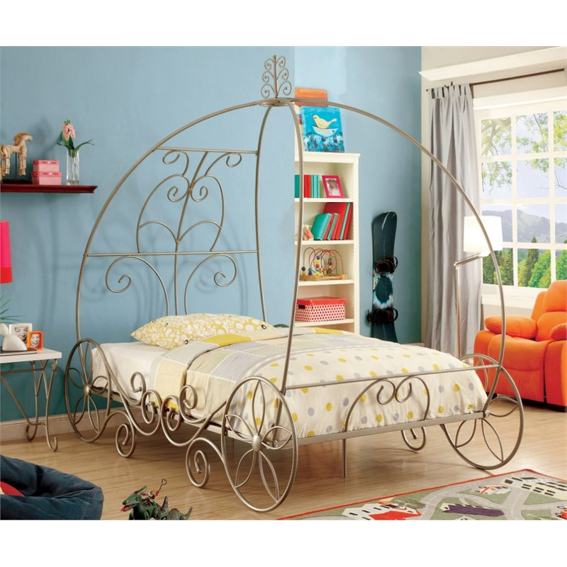 Furniture of America Heiress Full Metal Bed in Champagne