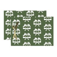 Cloth Placemats Canoe Canoeing Camping Paddle River Mountain Fishing Set of 2