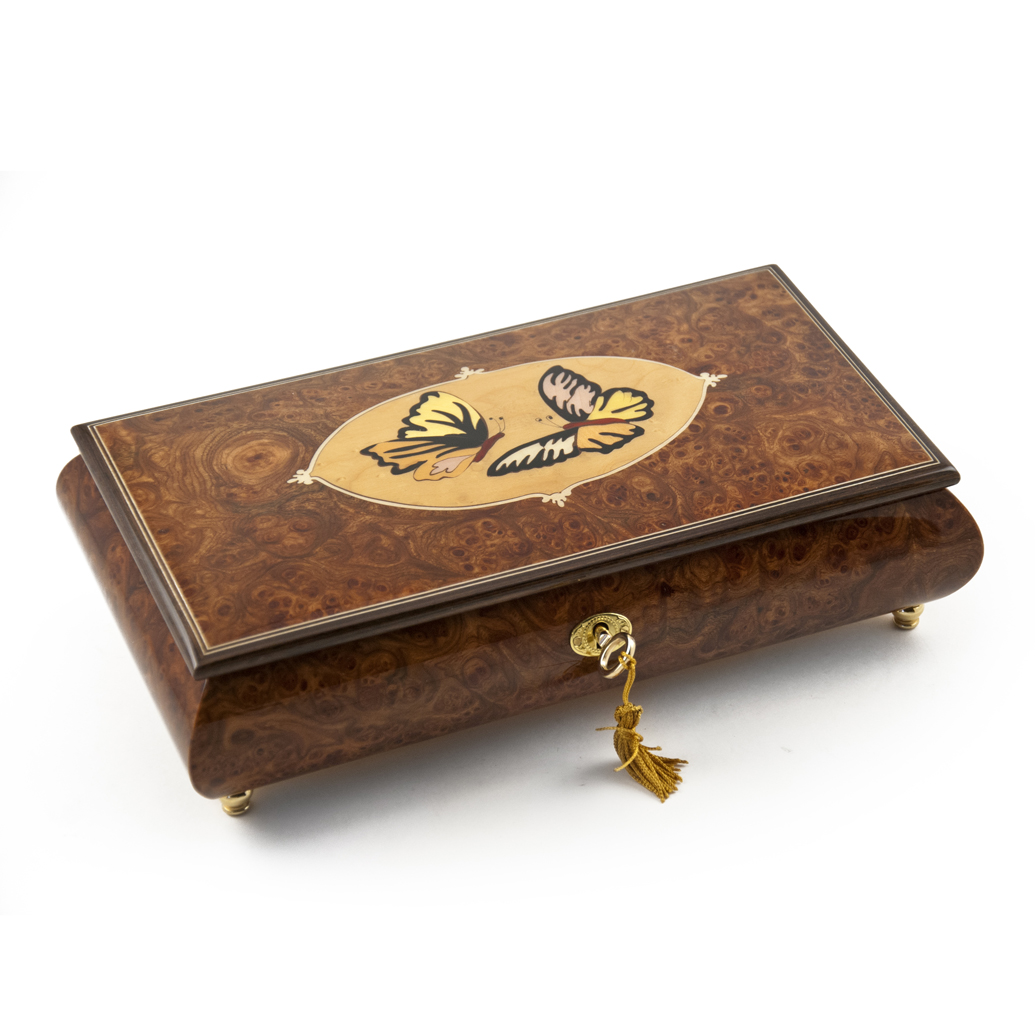 Handcrafted 36 Note Wood Tone Twin Butterfly Inlay Music Jewelry Box - Minuet In G & Dream of Love