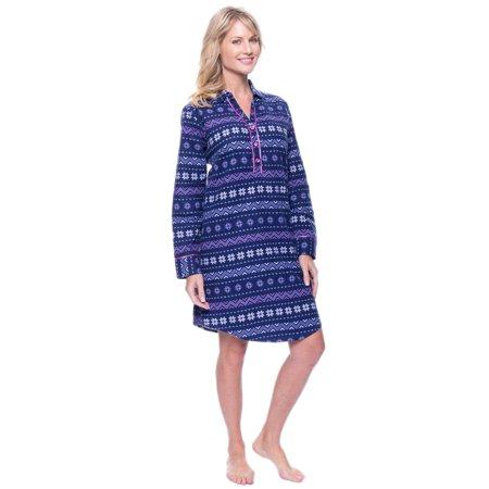 bd41e9e993 Noble Mount - Noble Mount Womens Premium 100% Cotton Flannel Long Sleeve  Sleep Shirt - Walmart.com
