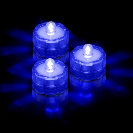 GPCT 3-Pack Waterproof LED Flameless Tea Light Candles [Battery Powered / Submersible] - Blue](Tea Lights Flameless)