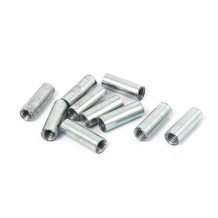 Tube Nut (M8 x 10mm x 29mmThreaded Rod Tube Adapter Round Coupling Connector Nuts 10 Pcs)