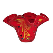 "12.75"" Crimson Red and Sunny Yellow Palm Leaf Decorative Hand Blown Glass Bowl"