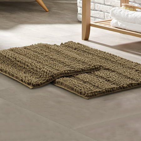 Pacific Coast Textiles 2 Pack Chenille Noodle With Non-Slip Backing Bath Mat Set - Taupe