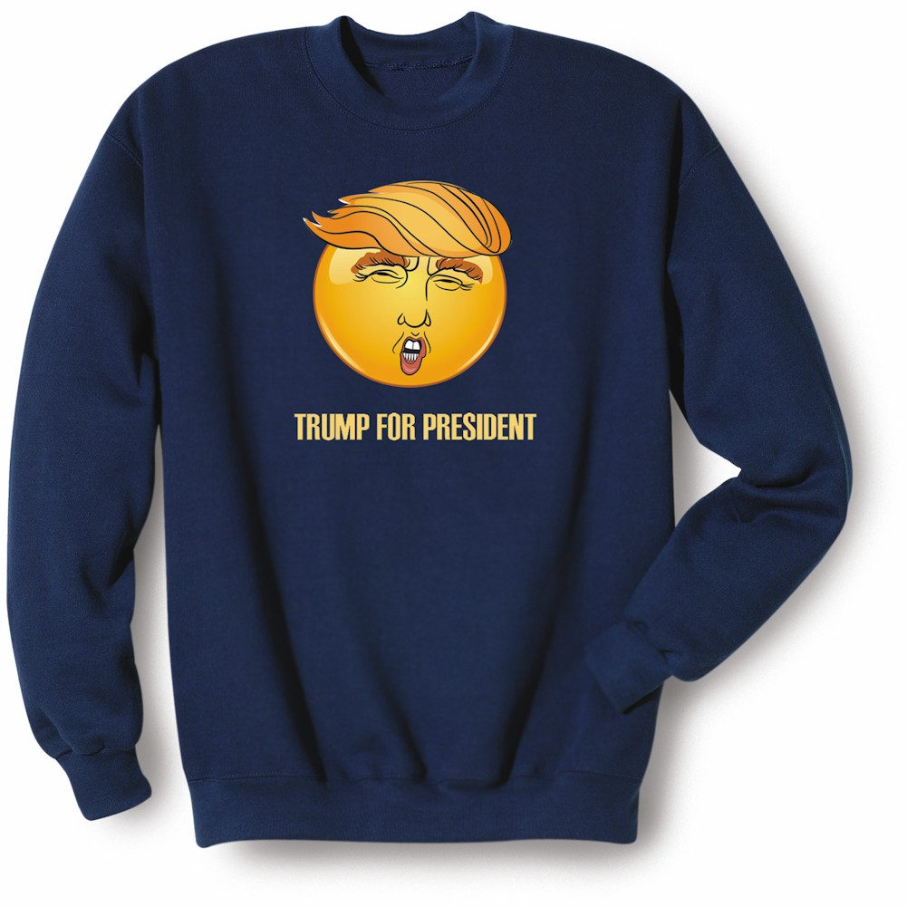 Unisex-Adult Trump For President Emoji Face Sweatshirt