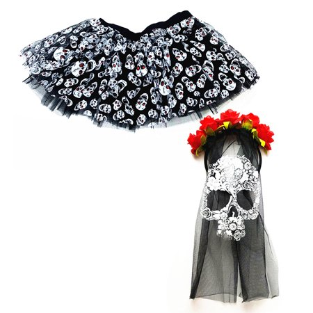 Halloween Costumes W (Mozlly Value Pack - Mozlly Womens Black Stretchy Pull On Skulls Tutu AND Day of the Dead Skull Veil Mask Halloween Costume Scary Wedding Outfit Horror Dress Up Masquerade w/)