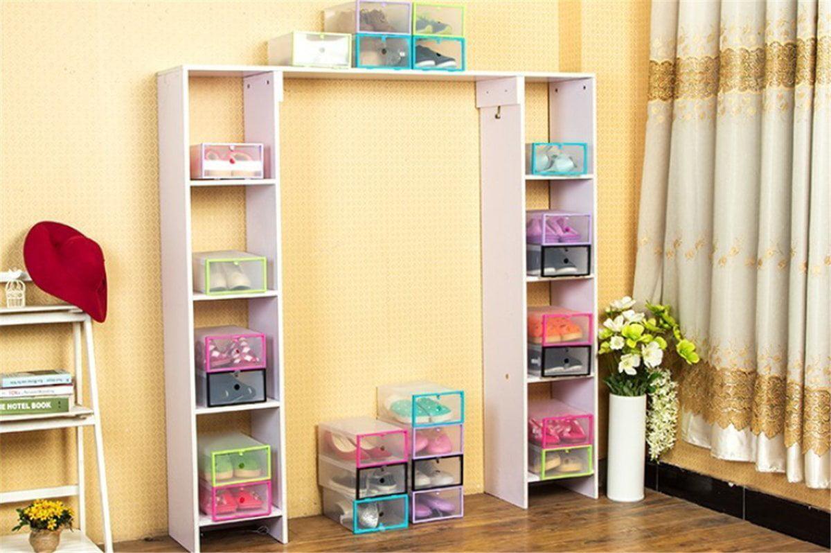 Estink Closet Storage Organizer, Transparent Plastic Stackable Shoe ...