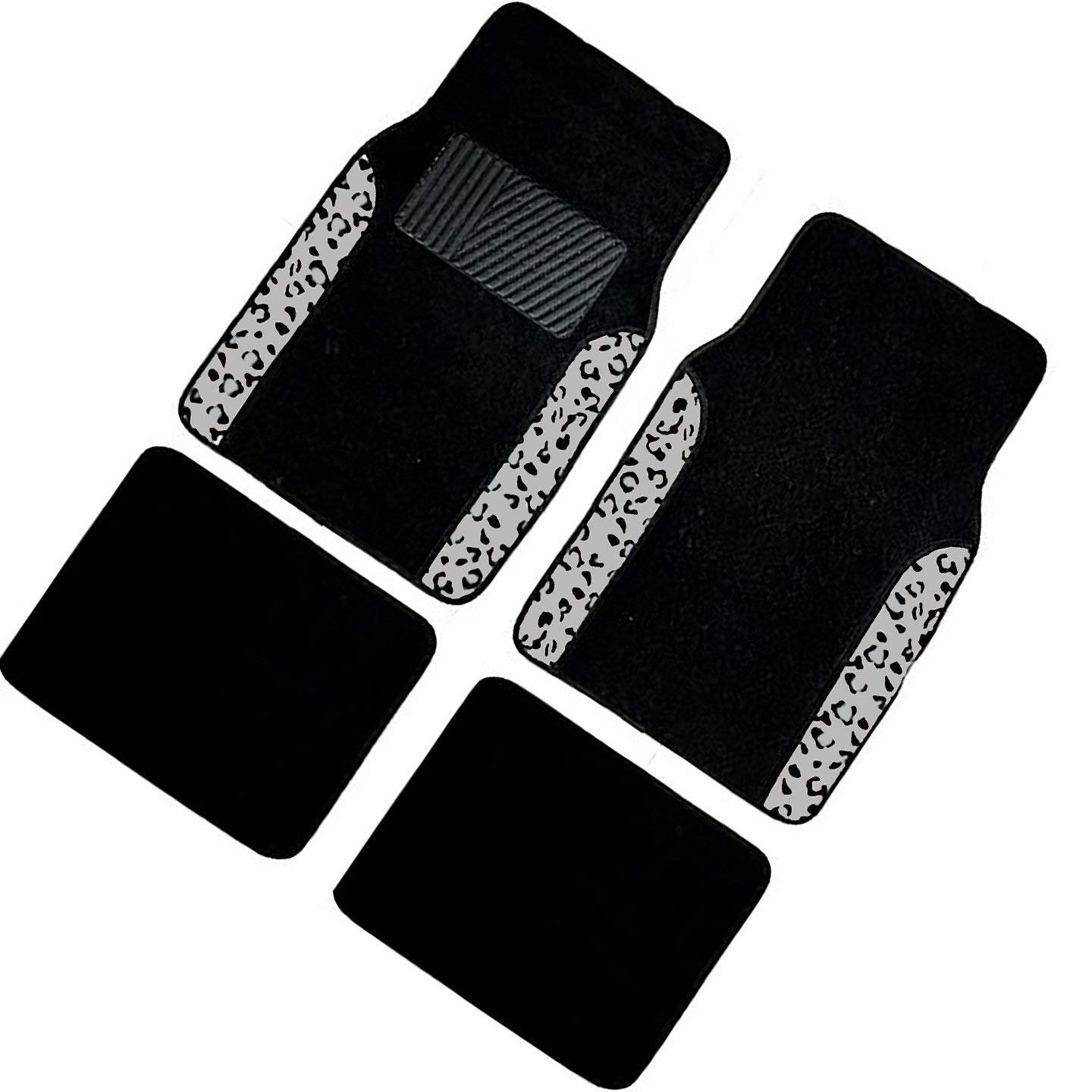 A Set of 4 Universal Fit Plush Carpet with Animal Print Floor Mats For Cars / Trucks (Gray Leopard)