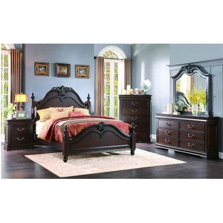 Martel Poster 4 Piece California King Bedroom Set In Dark Cherry Finish