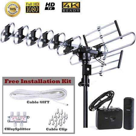 Five Star Outdoor HD TV Antenna 2019 Newest model Up to 200 Miles Long Range with Motorized 360 Degree Rotation, UHF/VHF/FM Radio with Infrared Remote Control Advanced Design plus installation kit (Light Up Antenna)