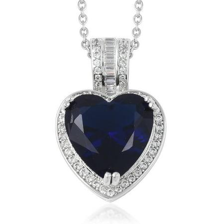 """Silvertone Blue Glass White Cubic Zirconia CZ Heart Pendant Necklace 20"""" Cttw 5.5"""