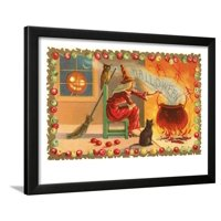 Witch with Halloween in Steam Framed Print Wall Art