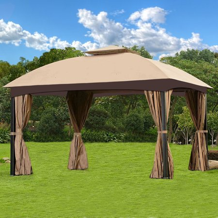 Business Suits Double Side Vent (Cloud Mountain Garden Gazebo Polyester Fabric Patio Backyard Double Roof Vented Gazebo Canopy with 4 Sides Mosquito Netting And Privacy Fabric,)