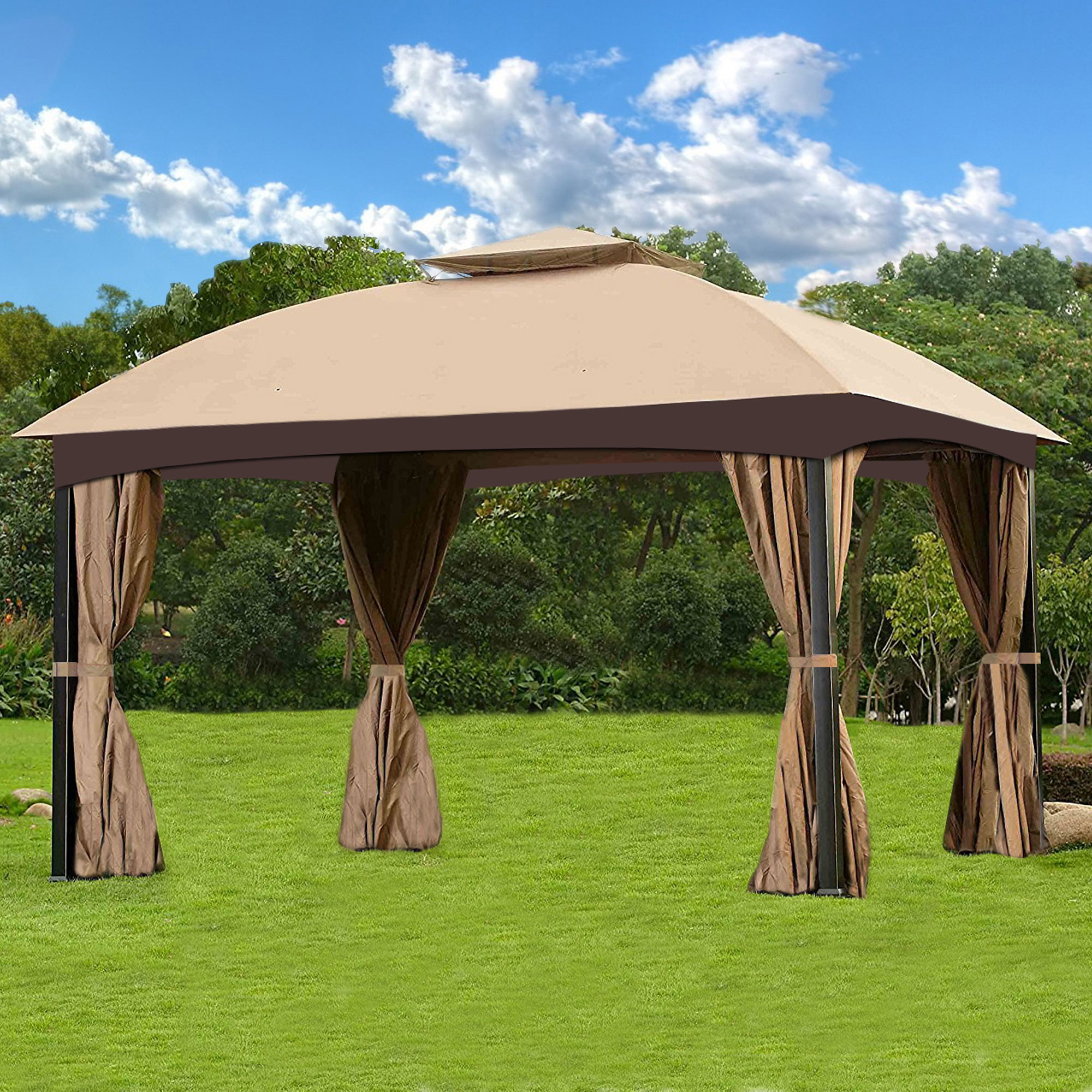 Cloud Mountain Garden Gazebo Polyester Fabric Patio Backyard Double Roof Vented Gazebo Canopy with 4 Sides Mosquito Netting And Privacy Fabric, Sand