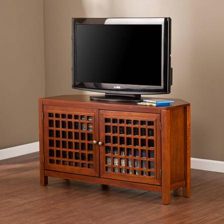 Alva Walnut Corner Media Stand, For TVs Up To 40″
