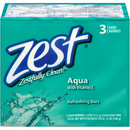 Zest Refreshing Bars Soap, Aqua 4 oz, 3 ea (Pack of 2)