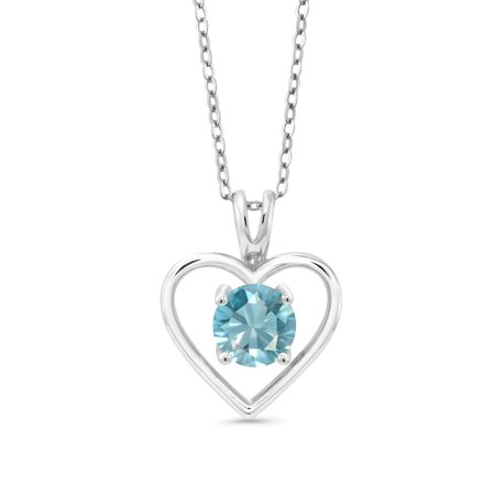 1.20 Ct Round Blue Zircon 925 Sterling Silver Pendant With Chain