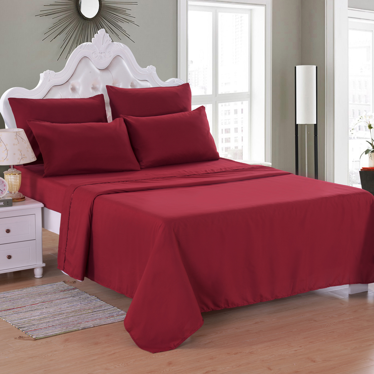 NEW SOFT WRINKLE FREE COTTON FEEL BED SHEETS SET DEEP POCKET KING SIZE RED !