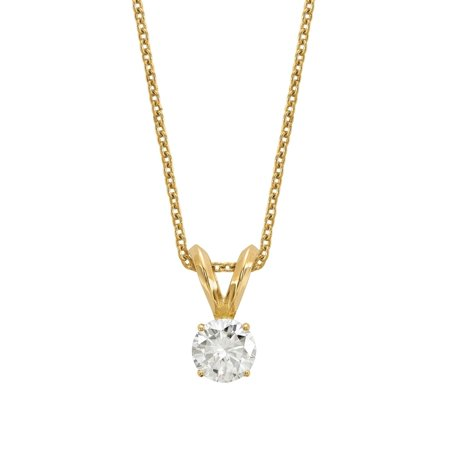 14 Karat Yellow 5.0 mm Round True Light Moissanite Solitaire Pendant 0.5 Carat Necklace 14k Moissanite Necklace