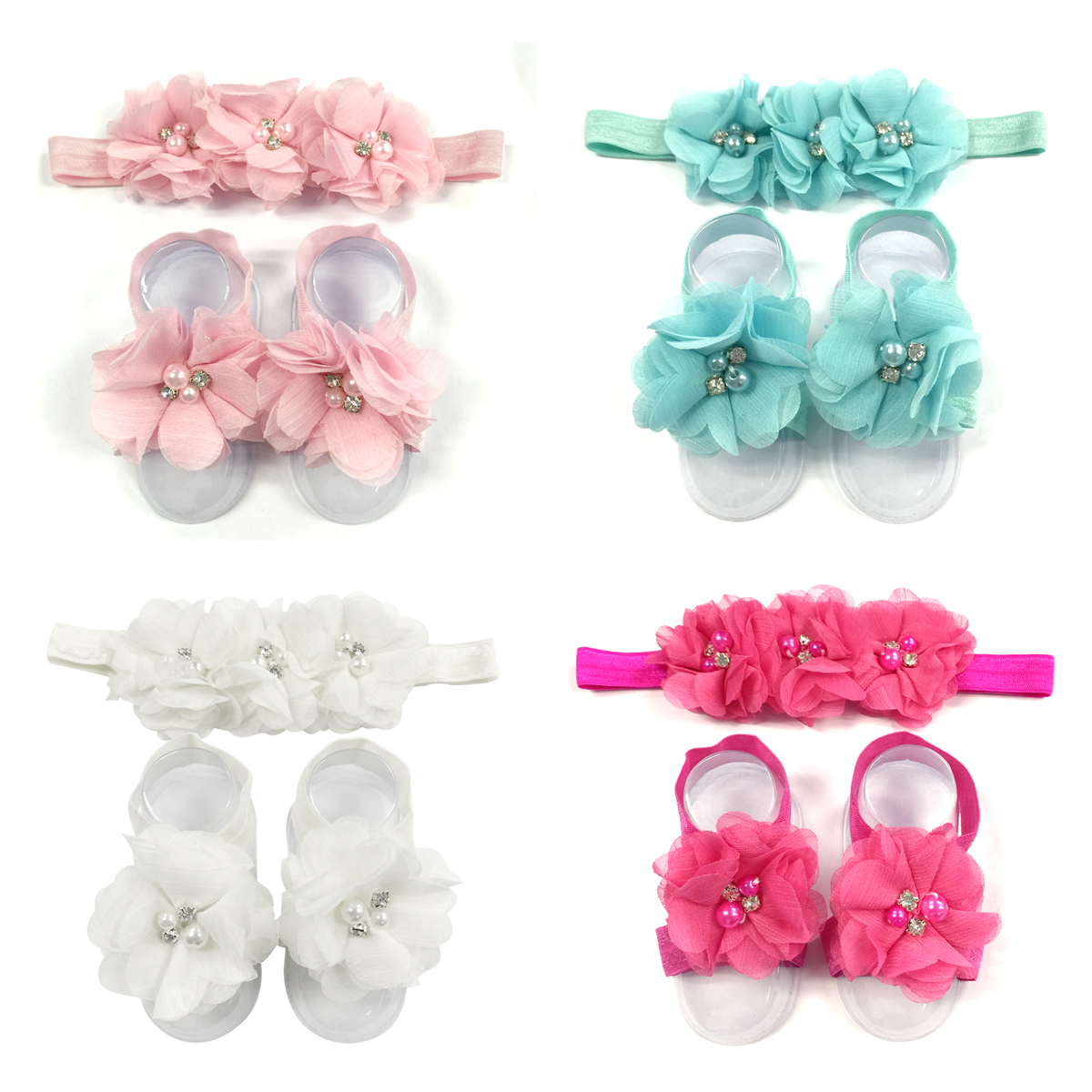 Wrapables® Shabby Chic Flower Headband + Barefoot Sandals (Set of 4), Pastel